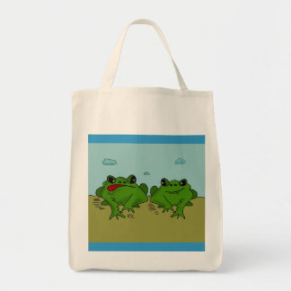 Two Frogs Croaking design on Tote Bag
