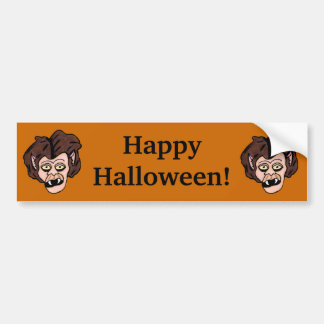 Two Fun Cartoon Halloween Werewolf Heads on Orange Bumper Sticker