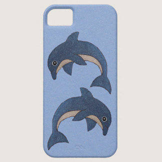 Two Fun Cute Dark Blue White Jumping Dolphins iPhone SE/5/5s Case