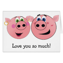 Two Funny Cartoon Pigs in Love Card