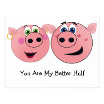 Two Funny Cartoon Pigs in Love Postcard