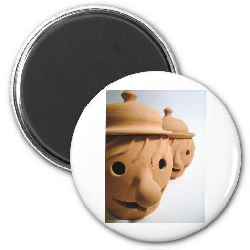 Two funny heads - Unique ceramics Fridge Magnets