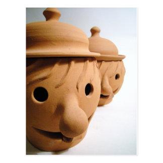 Two funny heads - Unique ceramics Postcard