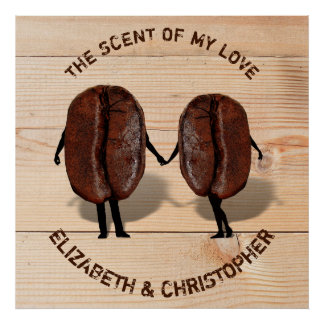 Two Funny Roasted Coffee Beans As Boy And Girl Poster