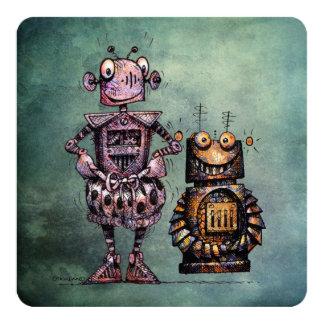 """Two Funny Robots! 5.25"""" Square Invitation Card"""