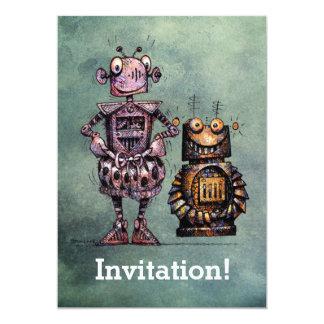 "Two Funny Robots! 5"" X 7"" Invitation Card"