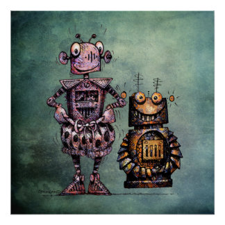Two Funny Robots! Poster