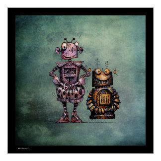 Two Funny Robots Poster