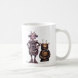 Two Funny Steampunk Robots Classic White Coffee Mug