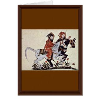 Two Galloping Horsemen By Irakischer Maler Um 1210 Greeting Card