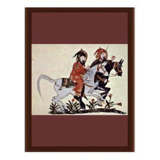Two Galloping Horsemen By Irakischer Maler Um 1210 Postcard