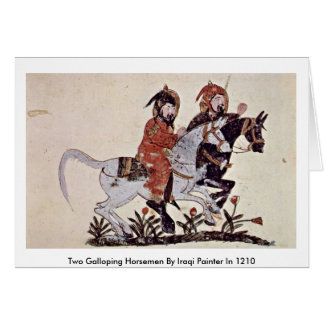 Two Galloping Horsemen By Iraqi Painter In 1210 Greeting Cards