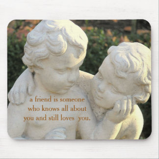 "TWO GARDEN CHERUBS/""TRUE FRIENDS"" QUOTE MOUSE PAD"