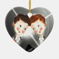 Two Gay Men Couple In Tuxedos Adorable Vintage Ceramic Ornament