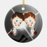 Two Gay Men Couple In Tuxedos Adorable Vintage Double-Sided Ceramic Round Christmas Ornament
