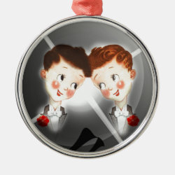 Two Gay Men Couple In Tuxedos Adorable Vintage Metal Ornament