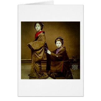 Two Geisha Adjusting a Kimono Vintage Japanese Card