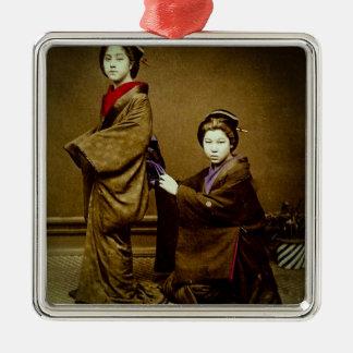 Two Geisha Adjusting a Kimono Vintage Japanese Metal Ornament