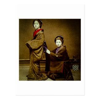Two Geisha Adjusting a Kimono Vintage Japanese Postcard