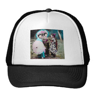 Two Geisha and a Maiko and Parasols Old Japan Trucker Hat