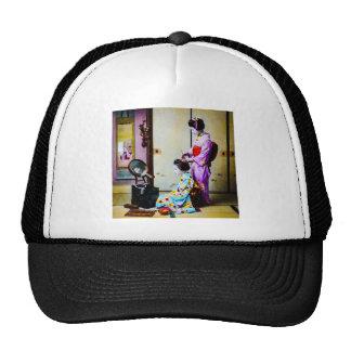Two Geisha Doing Hair Vintage Old Japanese Trucker Hat