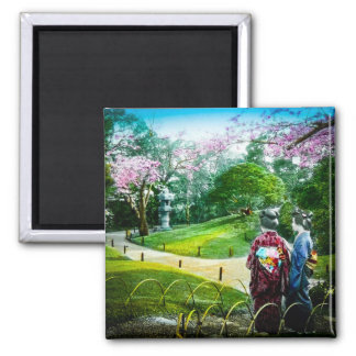 Two Geisha in a Public Garden in Old Japan Vintage Magnet
