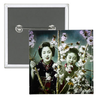 Two Geisha Vintage Japan in Blossoms Japanese Pinback Button