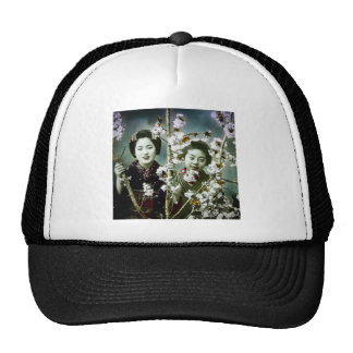 Two Geisha Vintage Japan in Blossoms Japanese Trucker Hat