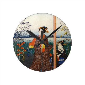 Two Geishas Japanese Traditional Woodblock Ukiyo-E Wall Clocks