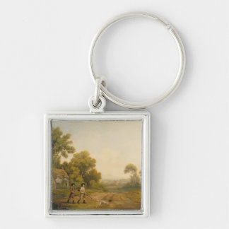 Two Gentlemen Going a Shooting (oil on canvas) Keychain