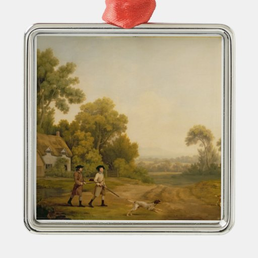 Two Gentlemen Going a Shooting (oil on canvas) Christmas Tree Ornament