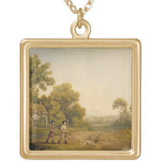 Two Gentlemen Going a Shooting (oil on canvas) Square Pendant Necklace