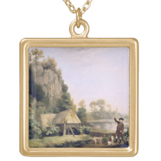 Two Gentlemen Going a Shooting, with a View of Cre Square Pendant Necklace