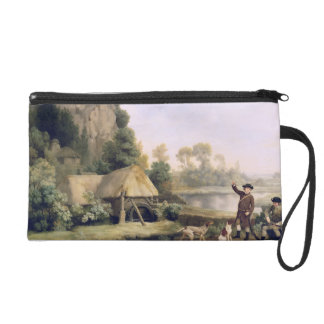 Two Gentlemen Going a Shooting, with a View of Cre Wristlet Purse