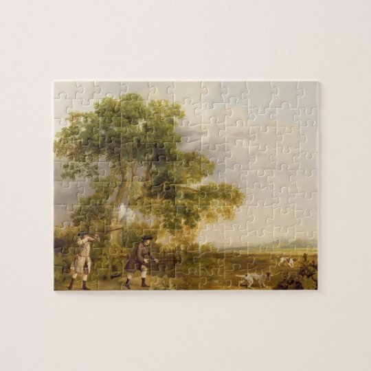Two Gentlemen Shooting (oil on canvas) Jigsaw Puzzle