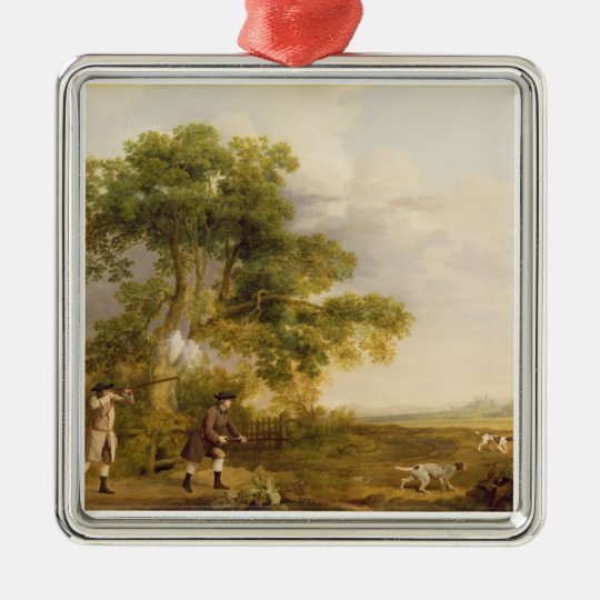 Two Gentlemen Shooting (oil on canvas) Metal Ornament
