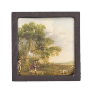 Two Gentlemen Shooting (oil on canvas) Premium Keepsake Box