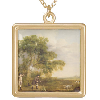 Two Gentlemen Shooting (oil on canvas) Square Pendant Necklace