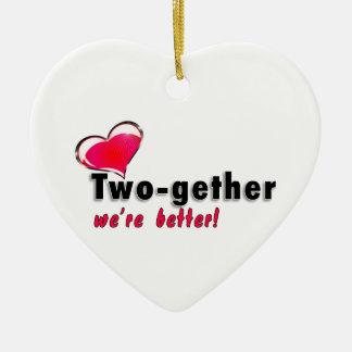 Two-gether somos mejores adorno de cerámica en forma de corazón
