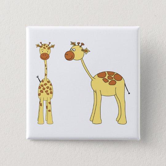 Two Giraffes. Cartoon Button