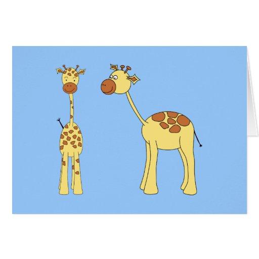 Two Giraffes. Cartoon Greeting Card
