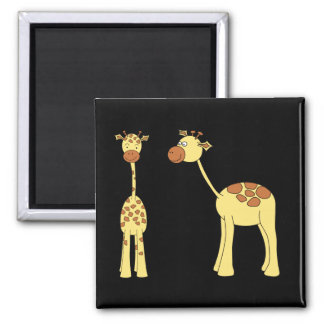 Two Giraffes. Cartoon 2 Inch Square Magnet
