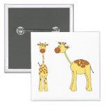 Two Giraffes. Cartoon Pin