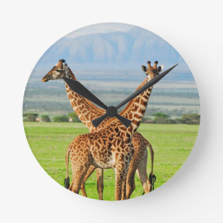 Two Giraffes Wallclock