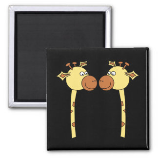 Two Giraffes Close-up. Cartoon 2 Inch Square Magnet
