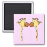 Two Giraffes Close-up. Cartoon Magnets