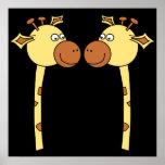 Two Giraffes Close-up. Cartoon Poster