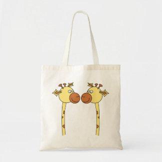 Two Giraffes Close-up. Cartoon Tote Bag