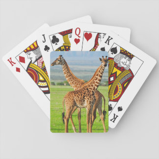 Two Giraffes Playing Cards
