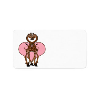 Two Giraffes With Necks Entwined And Love Heart Address Label